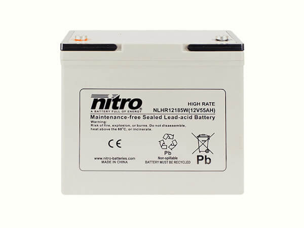 nitro NLHR12185W Batterie / Akku - 12V 55Ah AGM High Rate