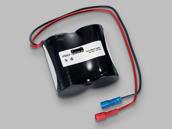 NiCd Notbeleuchtung Akku 2,4V / 4500mAh Reihe mit Fastonbuchse vollisoliert