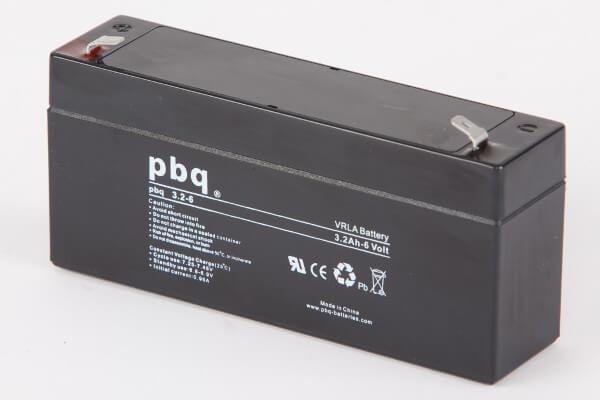 pbq 3.2-6 AGM Bleiakku - 6V 3,2Ah Allzweckbatterie mit Faston 4,8mm Anschluss