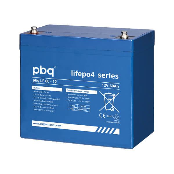 pbq LF60-12 LiFePO4 Batterie - 12,8V 60Ah Lithium-Ferrophosphat-Akku