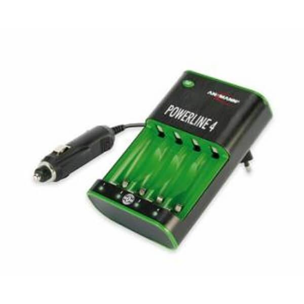 Ansmann Ladegerät Powerline 4 für NiMH / NiCd Micro AAA und Mignon AA Akkus