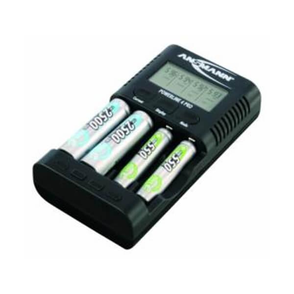 Ansmann Ladegerät Powerline 4 Pro für NiMH / NiCd Micro AAA und Mignon AA Akkus