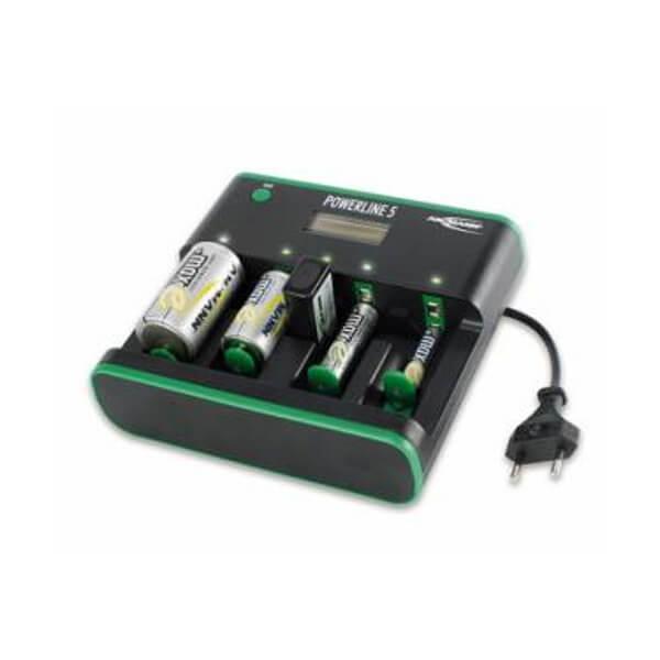 Ansmann Ladegerät Powerline 5 für NiMH / NiCd Micro AAA. Mignon AA, Baby C, Mono D und 9V E-Block Akkus