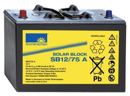 Sonnenschein SOLAR BLOCK SB12/75 A (12V / 75Ah) Blei-Gel Akku
