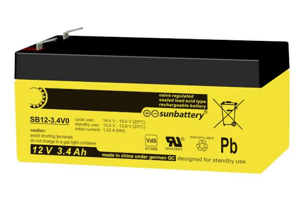 SUN Battery SB12-3.4 12V 3,4Ah Bleiakku VdS