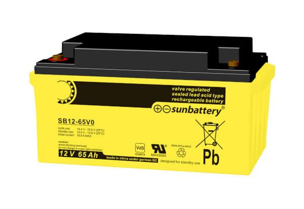 SUN Battery SB12-65 12V 65Ah Bleiakku VdS