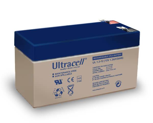 Ultracell UL1.3-12 12V 1,3Ah wiederaufladbare VRLA Batterie VdS Akku