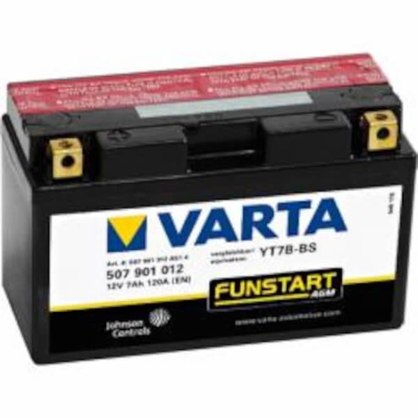 VARTA Powersports AGM 507 901 012 Motorradbatterie  - 12V 7Ah wartungsfrei