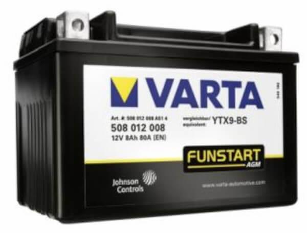 VARTA Powersports AGM 508 012 008 Motorradbatterie  - 12V 8Ah wartungsfrei