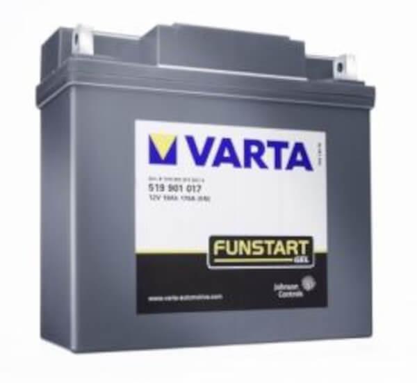 VARTA Powersports Gel 519 901 017 Motorradbatterie  - 12V 19Ah wartungsfrei