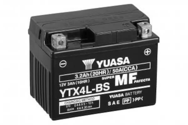 YUASA Motorradbatterie YTX4L-BS - 12V 3Ah wartungsfrei
